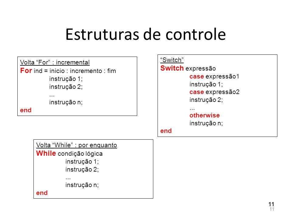 Estruturas de controle 11 Volta For : incremental For ind = inicio : incremento : fim instrução 1; instrução 2;... instrução n; end Volta While : por