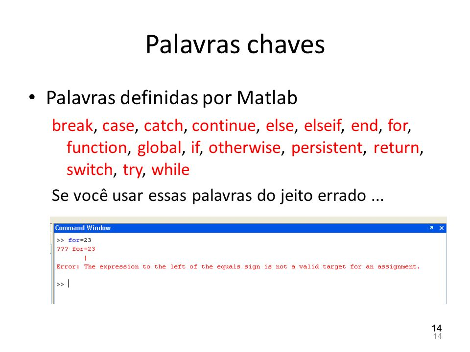 Palavras chaves Palavras definidas por Matlab break, case, catch, continue, else, elseif, end, for, function, global, if, otherwise, persistent, retur