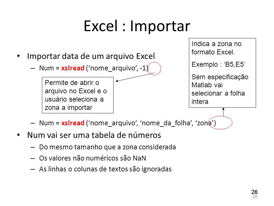 Excel : Importar Importar data de um arquivo Excel – Num = xslread (nome_arquivo, -1) – Num = xslread (nome_arquivo, nome_da_folha, zona) Num vai ser
