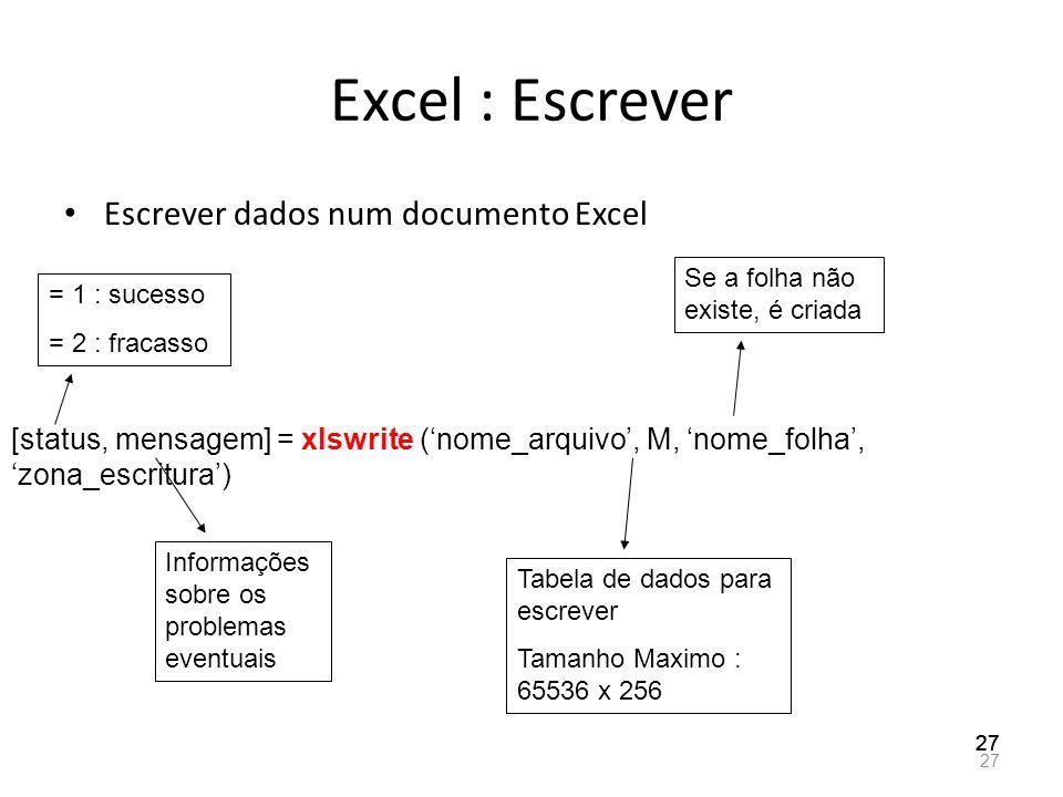 Excel : Escrever Escrever dados num documento Excel 27 [status, mensagem] = xlswrite (nome_arquivo, M, nome_folha, zona_escritura) = 1 : sucesso = 2 :