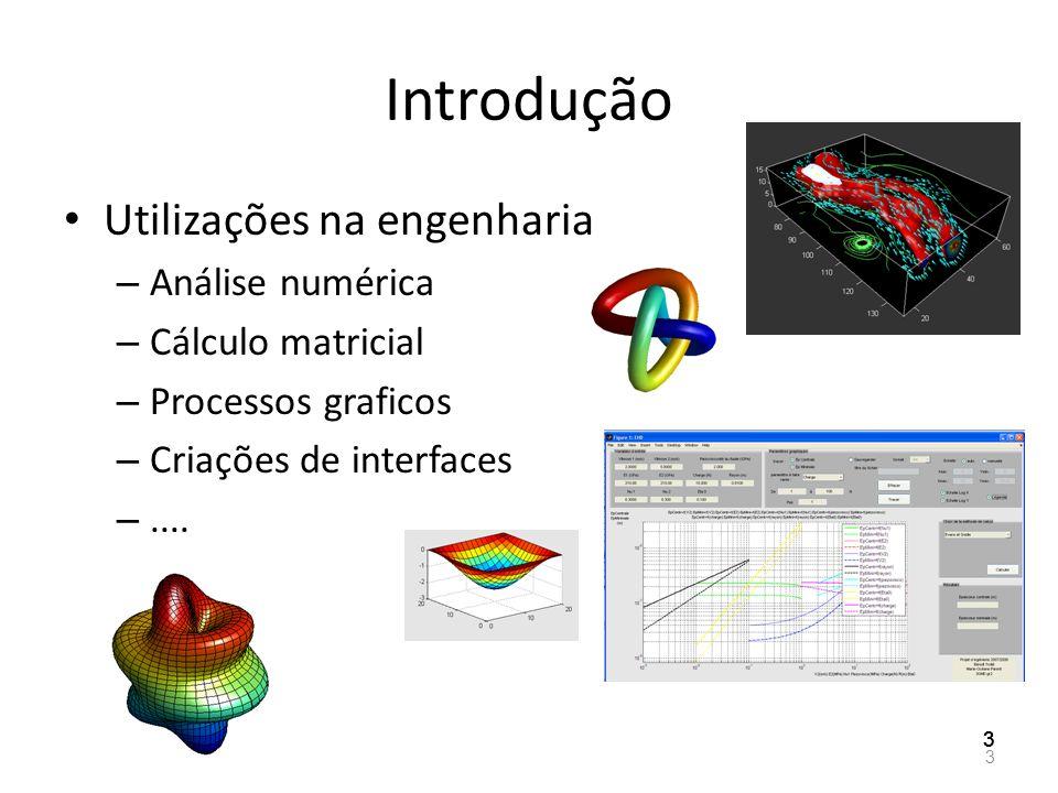 Introdução Utilizações na engenharia – Análise numérica – Cálculo matricial – Processos graficos – Criações de interfaces –.... 3 333