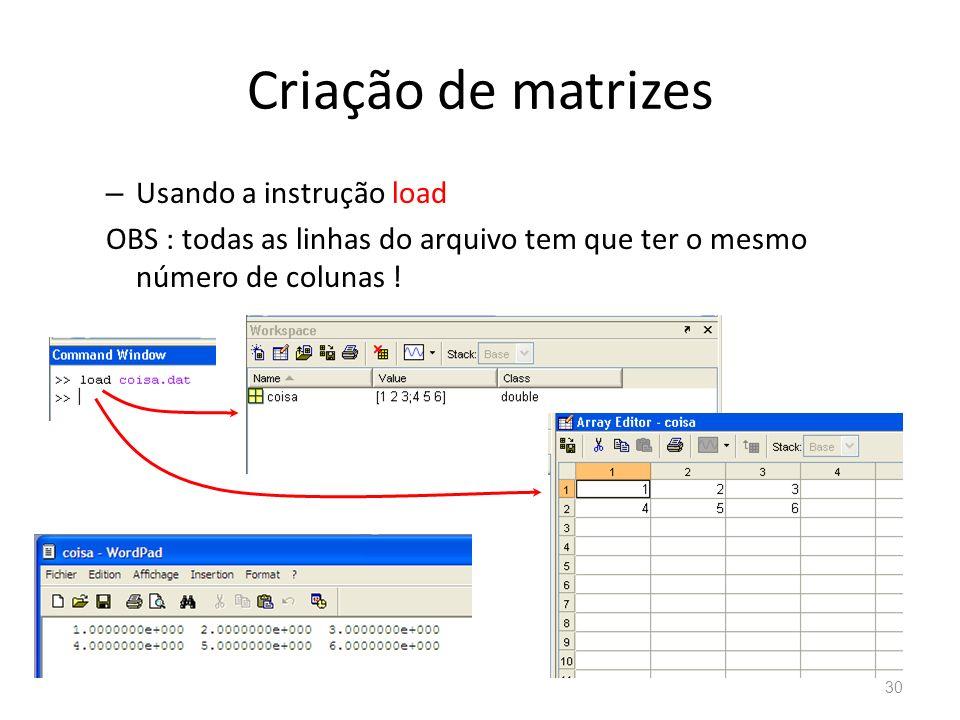 Criação de matrizes – Usando a instrução load OBS : todas as linhas do arquivo tem que ter o mesmo número de colunas ! 30