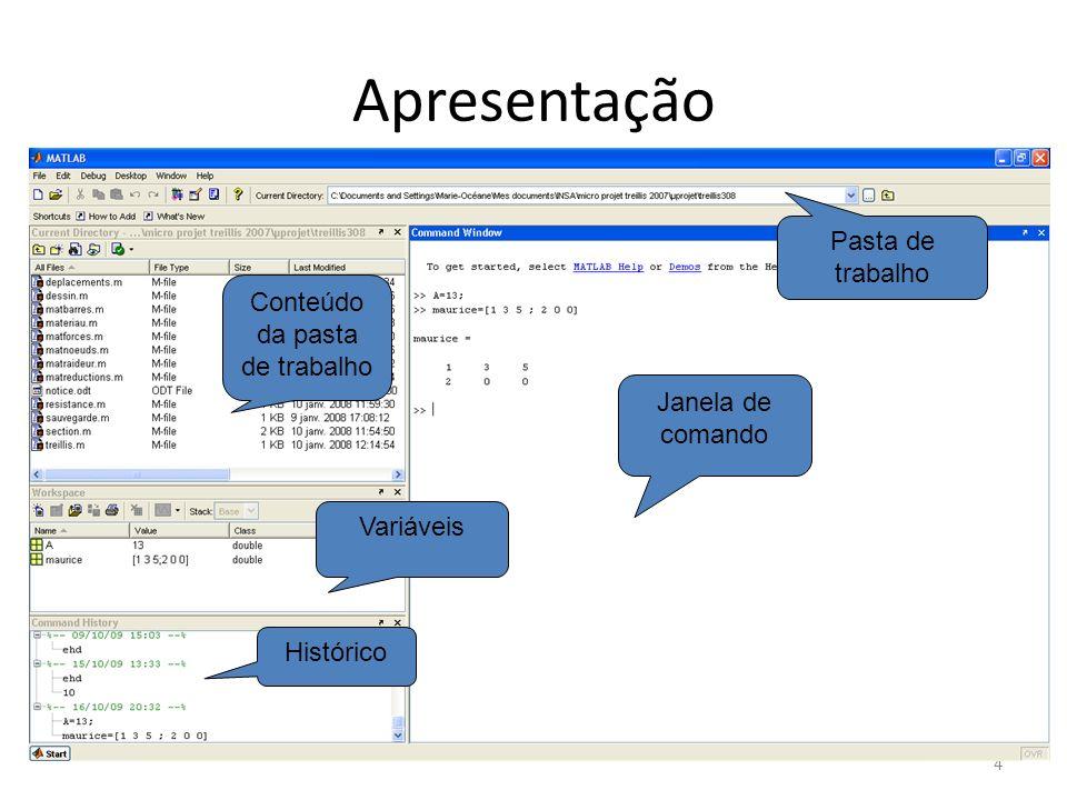 Características Matlab é uma linguagem interpretada ( compilada) As variáveis elementares são tabelas, matrizes, vetores ( Mapple) O coding style é importante – Escrever seu nome e a data – Dar nomes claros as variáveis – Escrever o máximo de comentários (% ou crtl+R) – Respeitar as tabulações 5 555 A MELHOR FERRAMENTA DO MATLAB É A AJUDA !!!