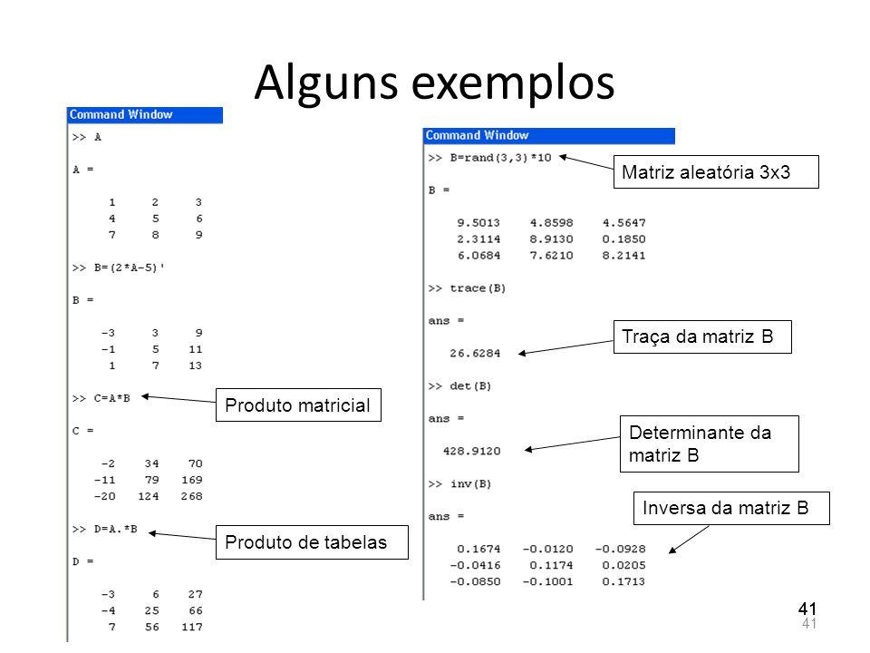 Alguns exemplos 41 Produto matricial Produto de tabelas Matriz aleatória 3x3 Traça da matriz B Determinante da matriz B Inversa da matriz B