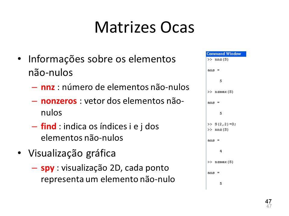 Matrizes Ocas Informações sobre os elementos não-nulos – nnz : número de elementos não-nulos – nonzeros : vetor dos elementos não- nulos – find : indi