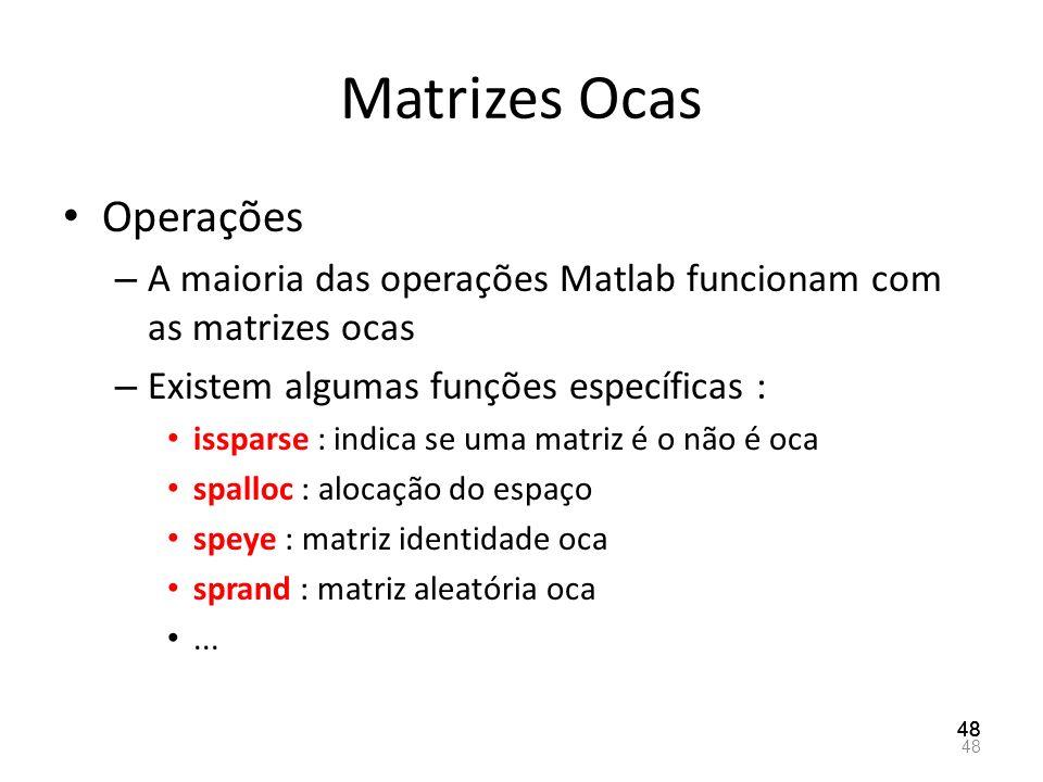 Matrizes Ocas Operações – A maioria das operações Matlab funcionam com as matrizes ocas – Existem algumas funções específicas : issparse : indica se u