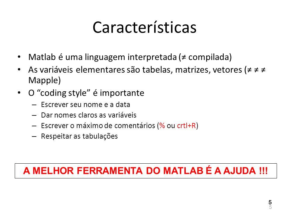 Características Matlab é uma linguagem interpretada ( compilada) As variáveis elementares são tabelas, matrizes, vetores ( Mapple) O coding style é im