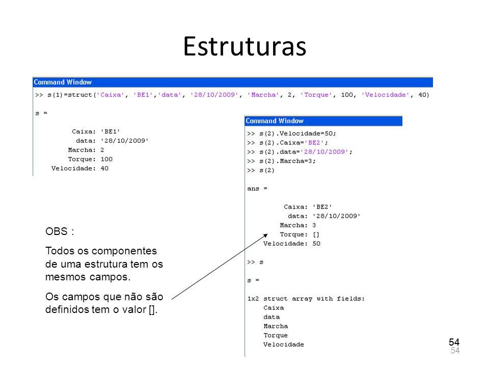 Estruturas 54 OBS : Todos os componentes de uma estrutura tem os mesmos campos. Os campos que não são definidos tem o valor [].