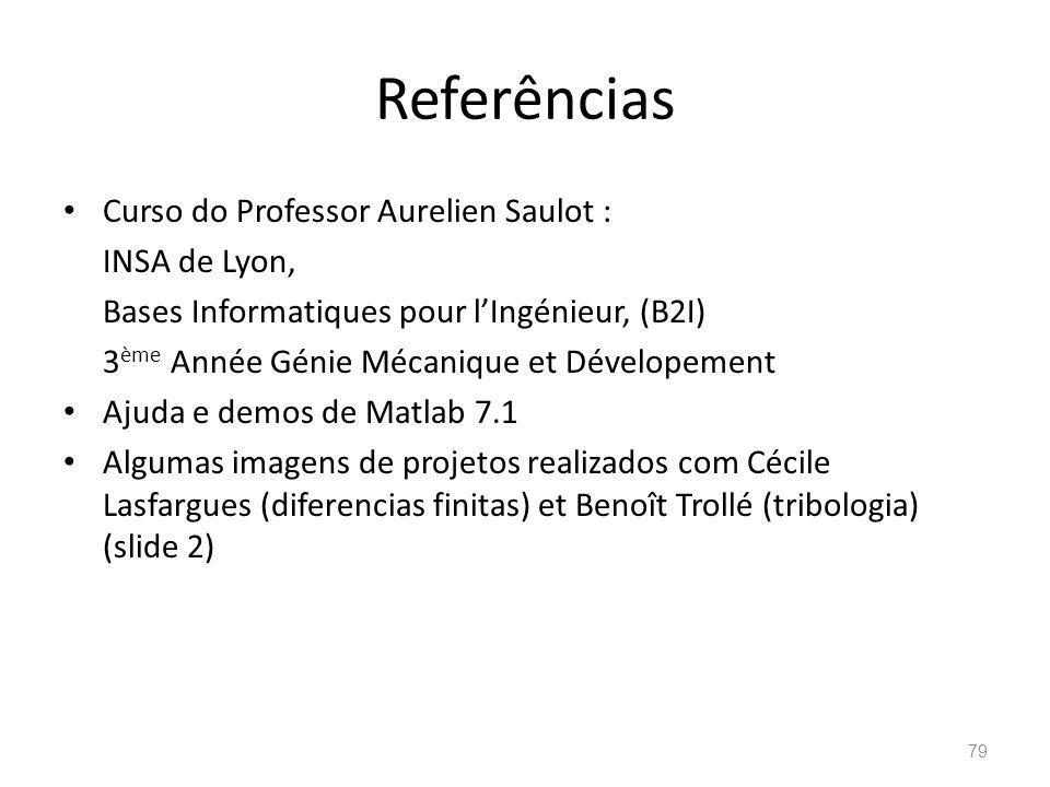 Referências Curso do Professor Aurelien Saulot : INSA de Lyon, Bases Informatiques pour lIngénieur, (B2I) 3 ème Année Génie Mécanique et Dévelopement