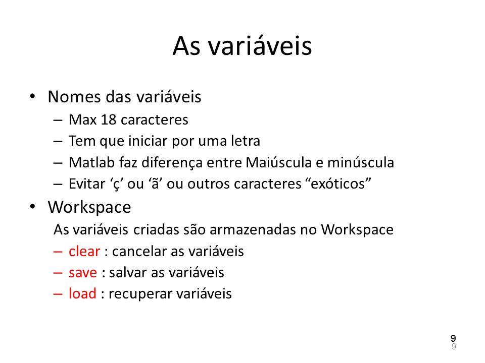 As variáveis Nomes das variáveis – Max 18 caracteres – Tem que iniciar por uma letra – Matlab faz diferença entre Maiúscula e minúscula – Evitar ç ou