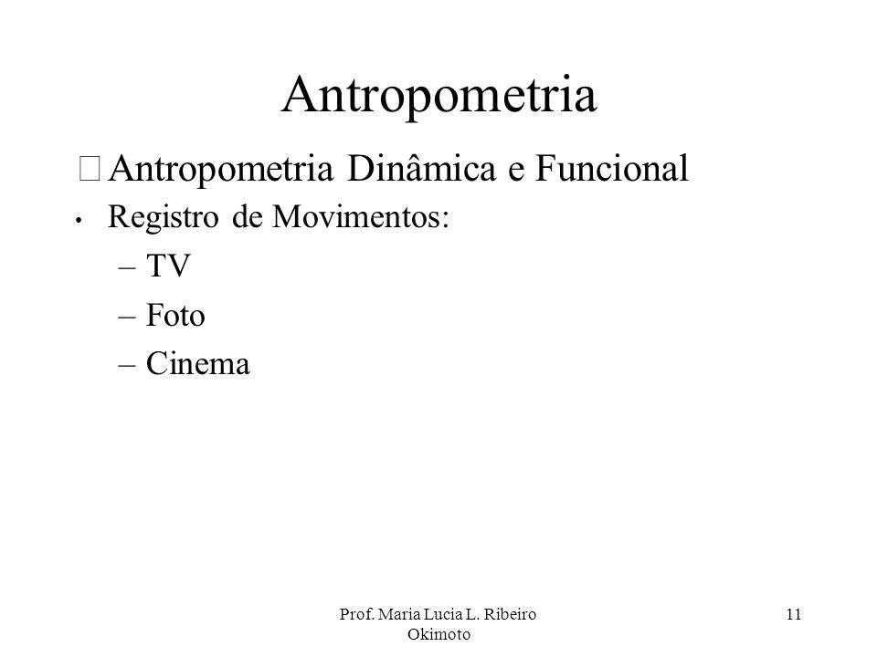 Prof. Maria Lucia L. Ribeiro Okimoto 11 Antropometria •Antropometria Dinâmica e Funcional Registro de Movimentos: –TV –Foto –Cinema