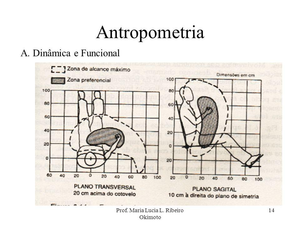 Prof. Maria Lucia L. Ribeiro Okimoto 14 Antropometria A. Dinâmica e Funcional