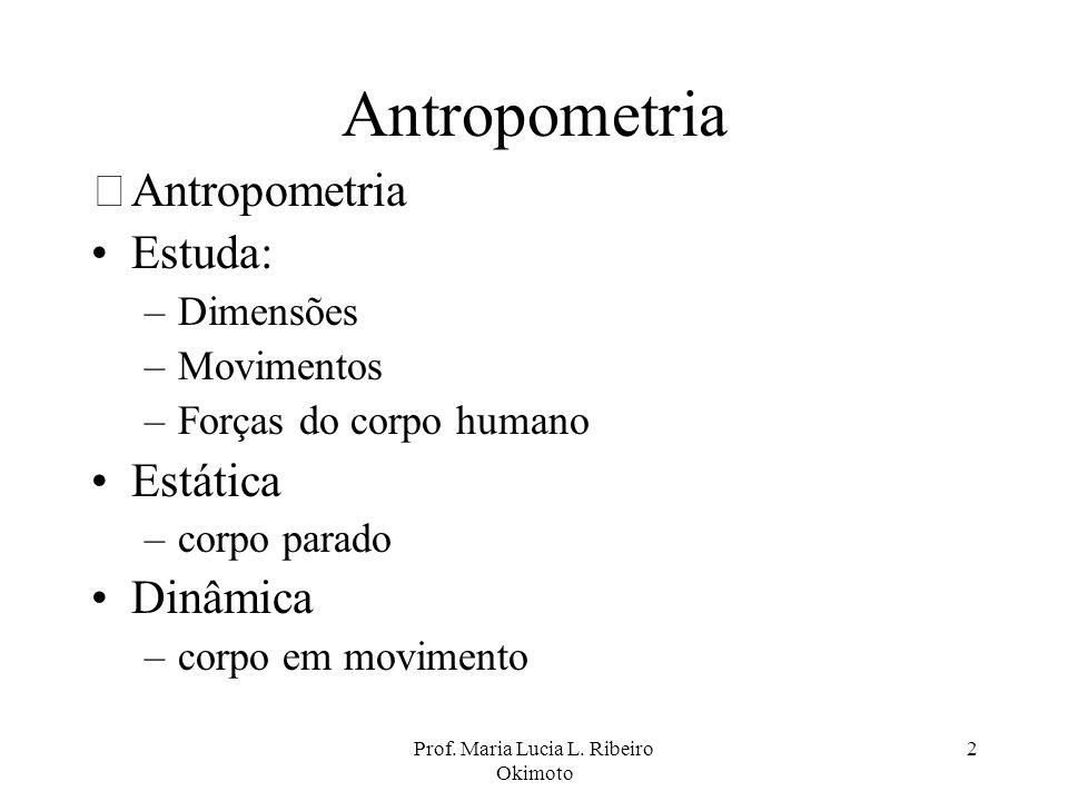 Prof. Maria Lucia L. Ribeiro Okimoto 2 Antropometria •Antropometria Estuda: –Dimensões –Movimentos –Forças do corpo humano Estática –corpo parado Dinâ