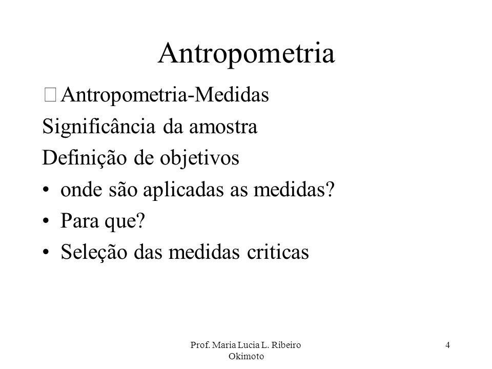 Prof. Maria Lucia L. Ribeiro Okimoto 4 Antropometria •Antropometria-Medidas Significância da amostra Definição de objetivos onde são aplicadas as medi