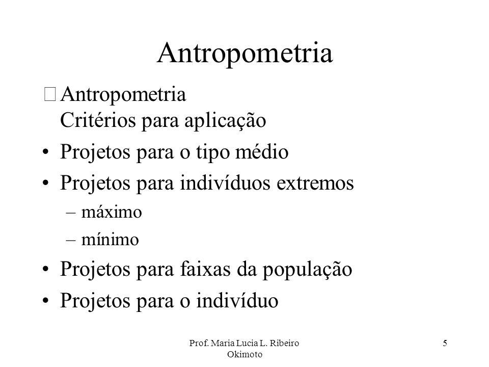 Prof. Maria Lucia L. Ribeiro Okimoto 5 Antropometria •Antropometria Critérios para aplicação Projetos para o tipo médio Projetos para indivíduos extre