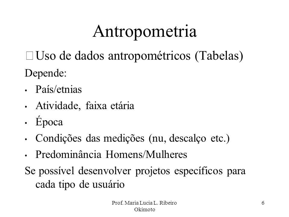 Prof. Maria Lucia L. Ribeiro Okimoto 6 Antropometria •Uso de dados antropométricos (Tabelas) Depende: País/etnias Atividade, faixa etária Época Condiç