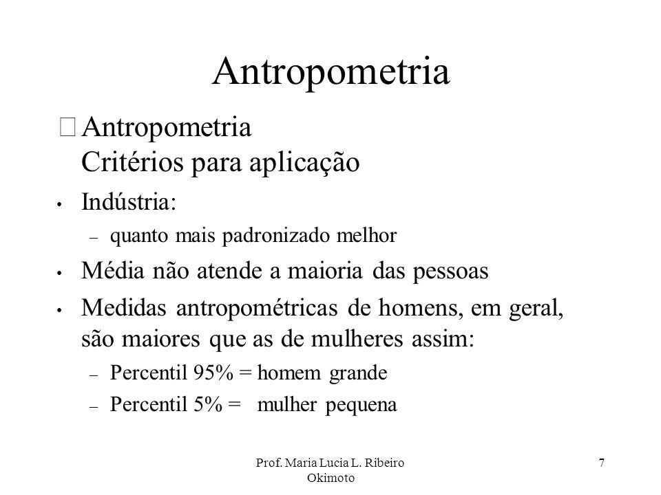 Prof. Maria Lucia L. Ribeiro Okimoto 7 Antropometria •Antropometria Critérios para aplicação Indústria: – quanto mais padronizado melhor Média não ate
