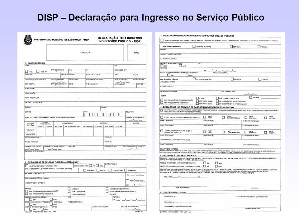 DISP – Declaração para Ingresso no Serviço Público