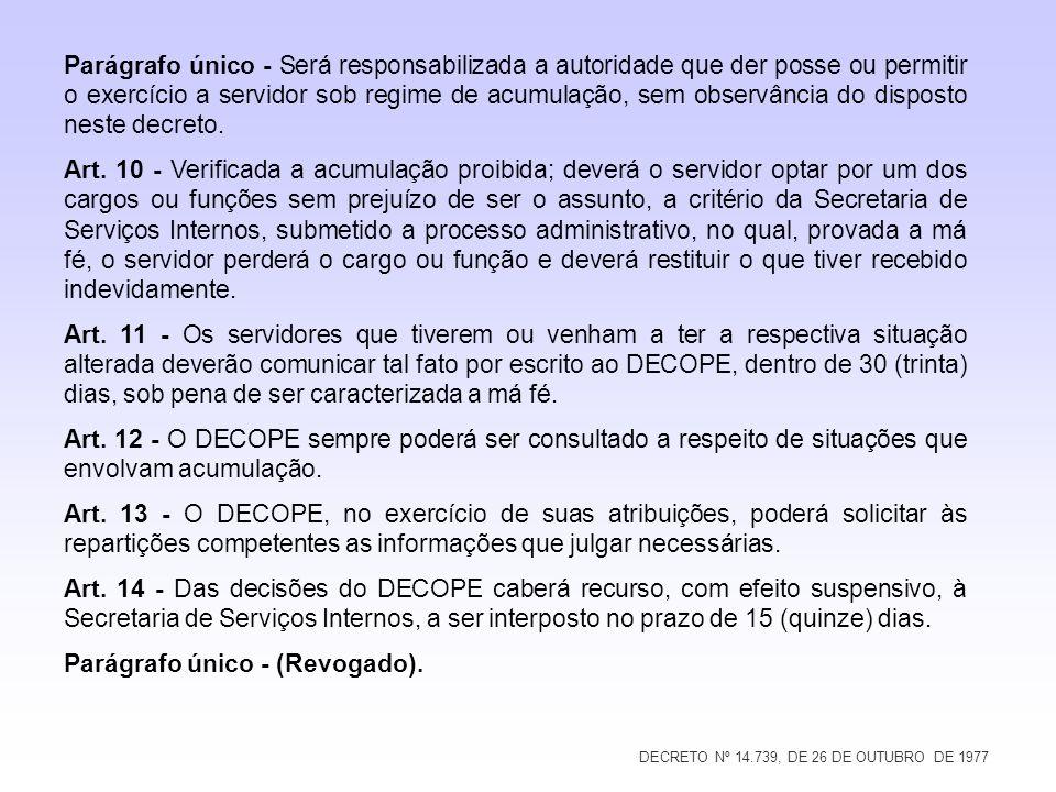 DECRETO Nº 14.739, DE 26 DE OUTUBRO DE 1977 Parágrafo único - Será responsabilizada a autoridade que der posse ou permitir o exercício a servidor sob