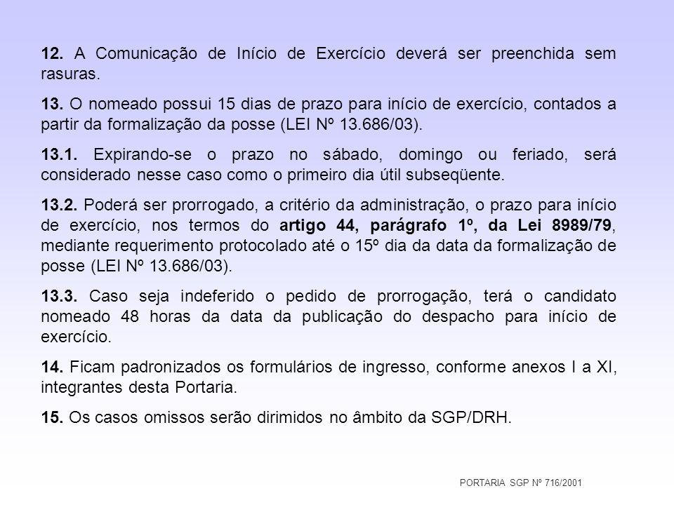 PORTARIA SGP Nº 716/2001 12. A Comunicação de Início de Exercício deverá ser preenchida sem rasuras. 13. O nomeado possui 15 dias de prazo para início