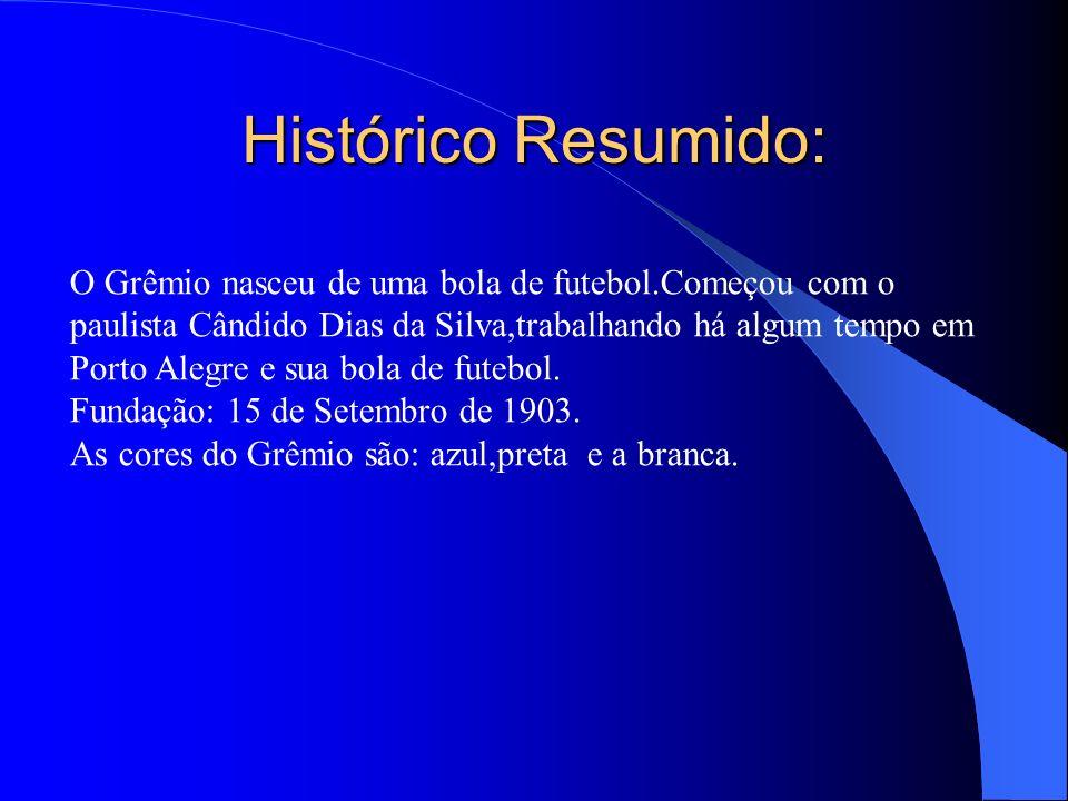 Histórico Resumido: O Grêmio nasceu de uma bola de futebol.Começou com o paulista Cândido Dias da Silva,trabalhando há algum tempo em Porto Alegre e s