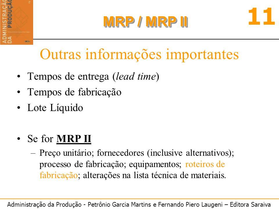 Administração da Produção - Petrônio Garcia Martins e Fernando Piero Laugeni – Editora Saraiva 11 MRP / MRP II Outras informações importantes Tempos d