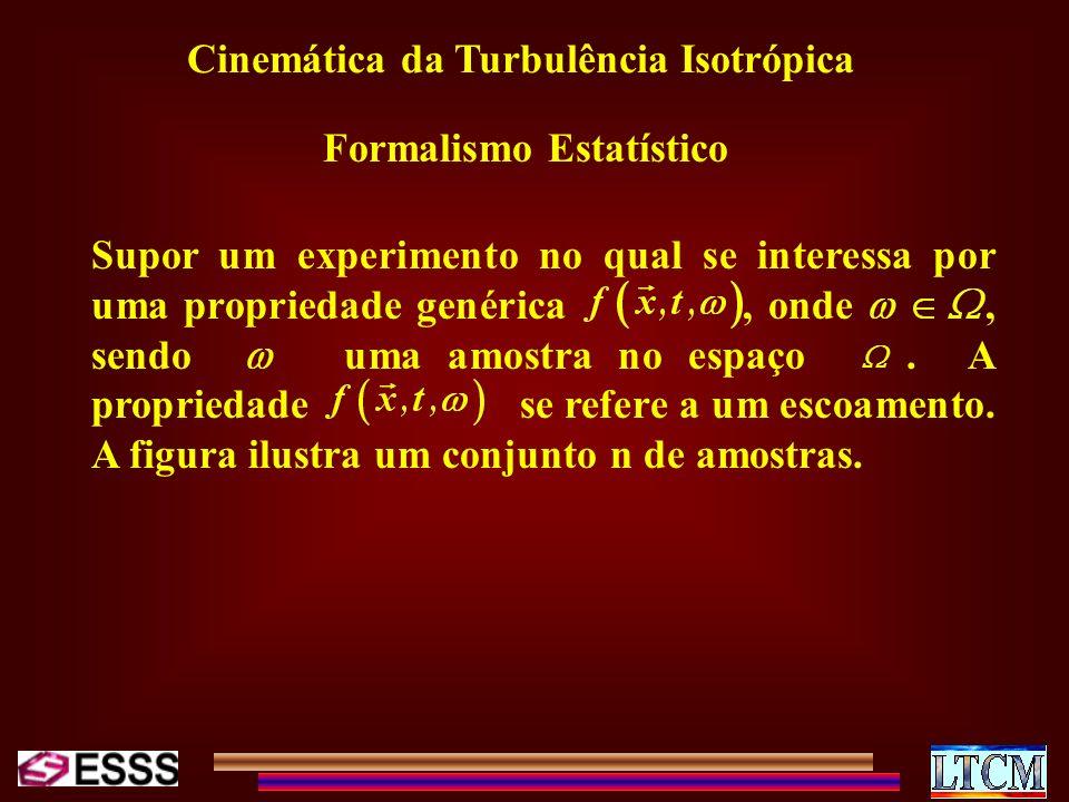 Cinemática da Turbulência Isotrópica Formalismo Estatístico Supor um experimento no qual se interessa por uma propriedade genérica, onde, sendo uma am