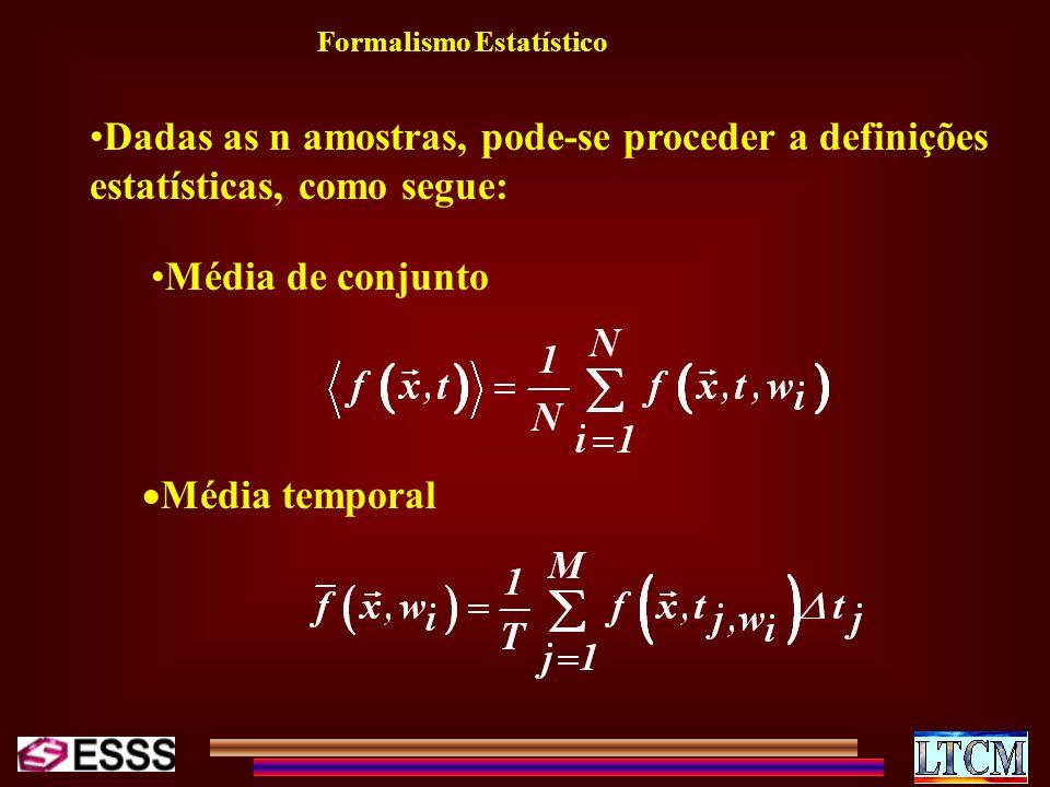Dadas as n amostras, pode-se proceder a definições estatísticas, como segue: Média de conjunto Média temporal