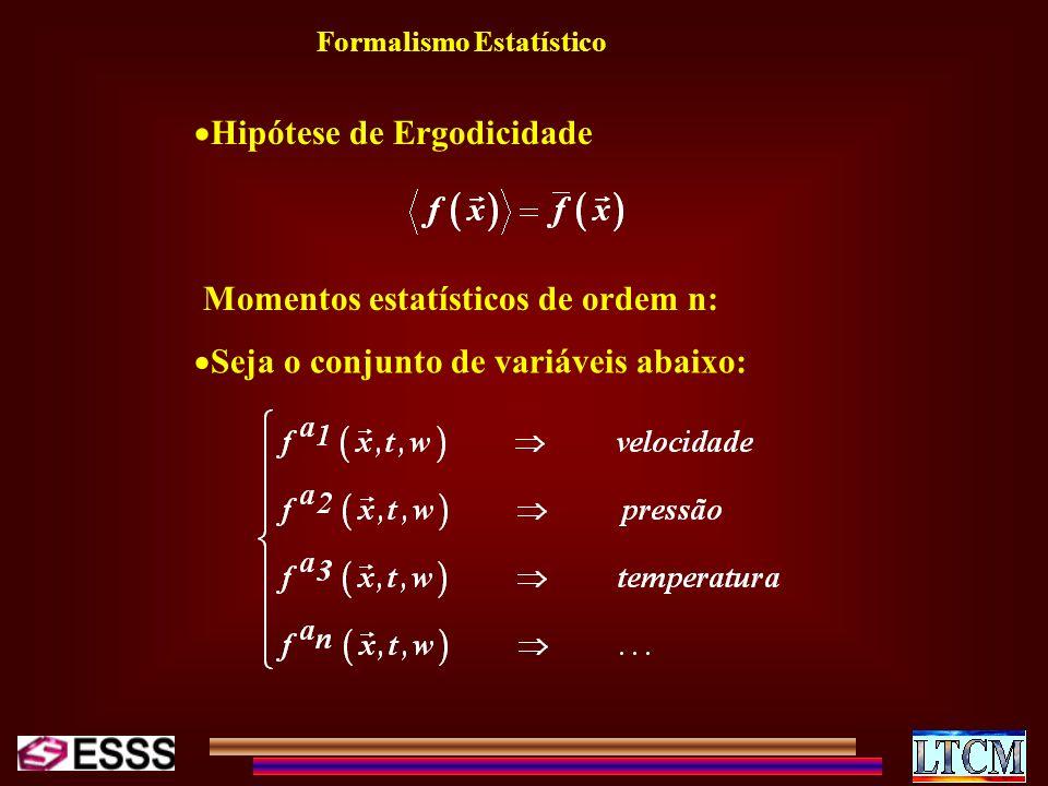 Formalismo Estatístico Hipótese de Ergodicidade Momentos estatísticos de ordem n: Seja o conjunto de variáveis abaixo:
