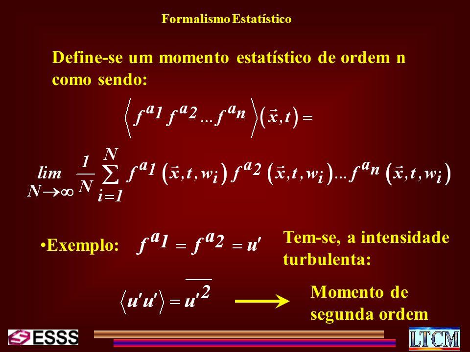Formalismo Estatístico Define-se um momento estatístico de ordem n como sendo: Exemplo: Tem-se, a intensidade turbulenta: Momento de segunda ordem