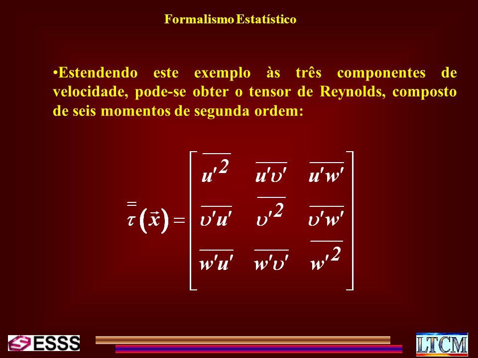 Formalismo Estatístico Estendendo este exemplo às três componentes de velocidade, pode-se obter o tensor de Reynolds, composto de seis momentos de seg