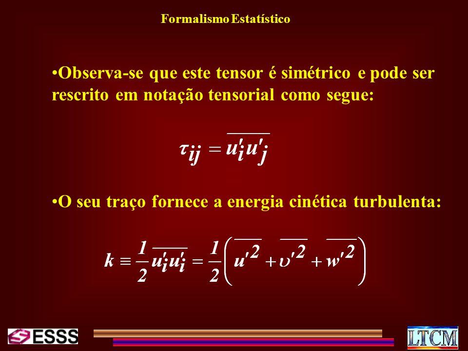 Formalismo Estatístico Observa-se que este tensor é simétrico e pode ser rescrito em notação tensorial como segue: O seu traço fornece a energia cinét
