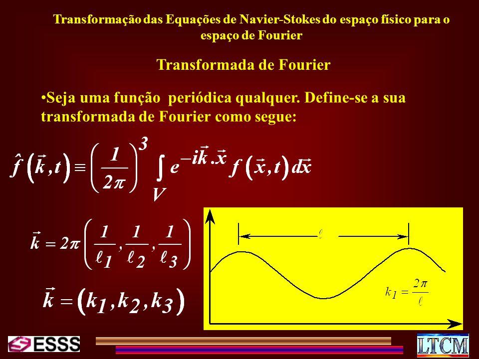 Transformação das Equações de Navier-Stokes do espaço físico para o espaço de Fourier Transformada de Fourier Seja uma função periódica qualquer. Defi