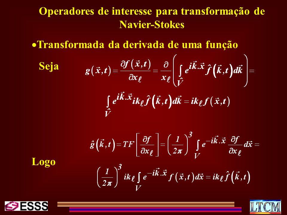 Operadores de interesse para transformação de Navier-Stokes Transformada da derivada de uma função Seja Logo