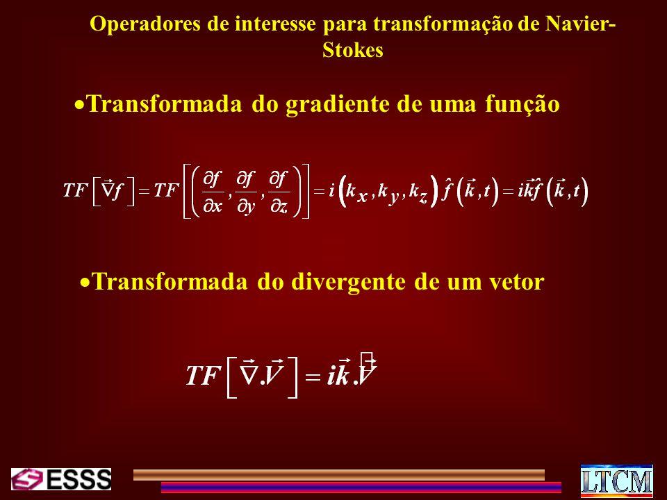 Operadores de interesse para transformação de Navier- Stokes Transformada do gradiente de uma função Transformada do divergente de um vetor