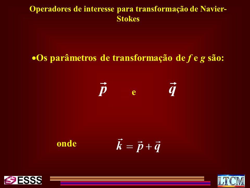 Operadores de interesse para transformação de Navier- Stokes Os parâmetros de transformação de f e g são: e onde
