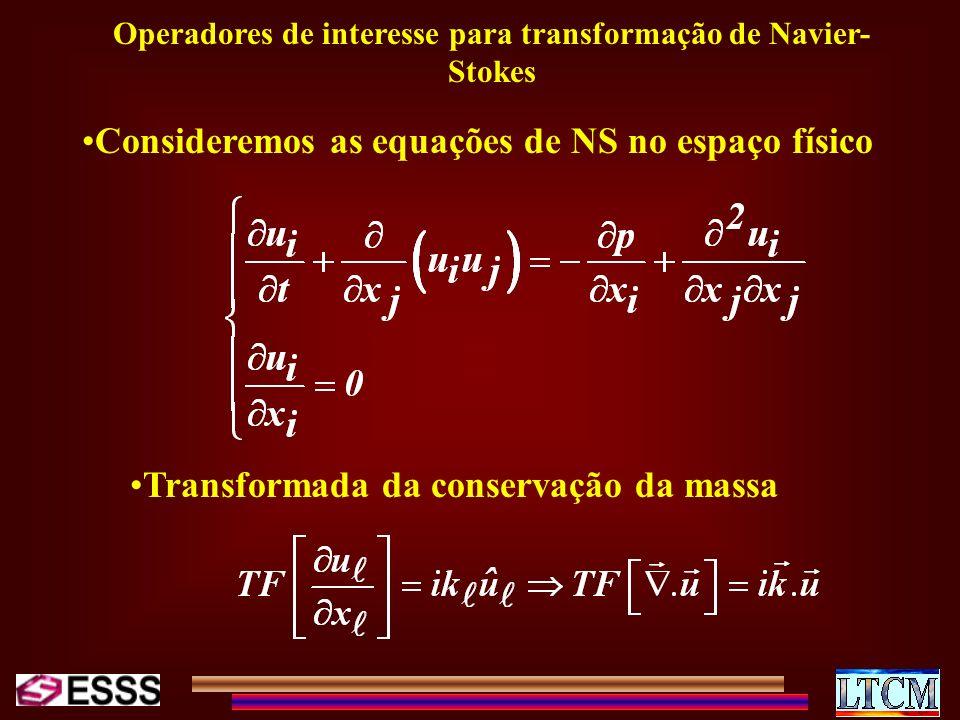 Operadores de interesse para transformação de Navier- Stokes Consideremos as equações de NS no espaço físico Transformada da conservação da massa