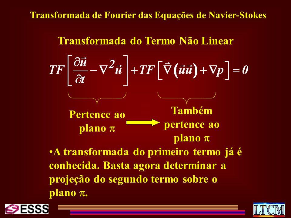 Transformada de Fourier das Equações de Navier-Stokes Transformada do Termo Não Linear Pertence ao plano Também pertence ao plano A transformada do pr