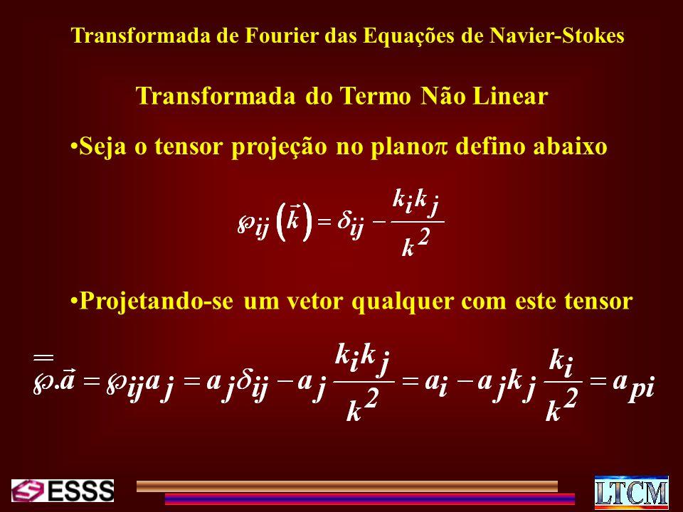 Transformada de Fourier das Equações de Navier-Stokes Transformada do Termo Não Linear Seja o tensor projeção no plano defino abaixo Projetando-se um