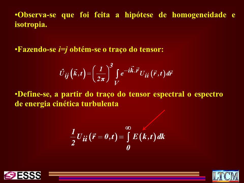 Observa-se que foi feita a hipótese de homogeneidade e isotropia. Fazendo-se i=j obtém-se o traço do tensor: Define-se, a partir do traço do tensor es