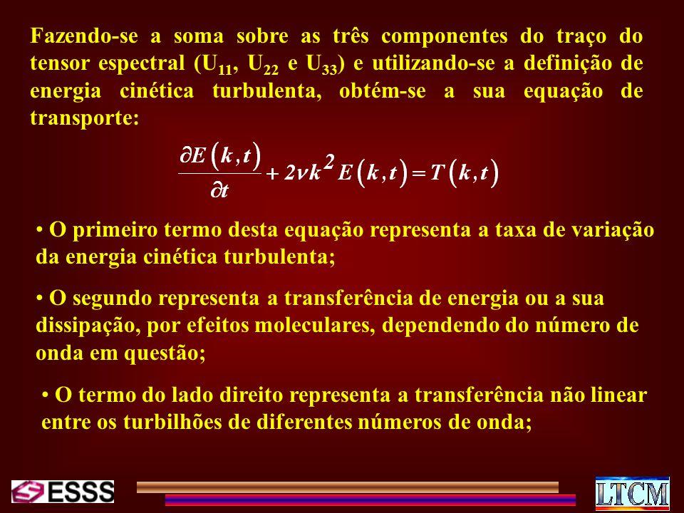 Fazendo-se a soma sobre as três componentes do traço do tensor espectral (U 11, U 22 e U 33 ) e utilizando-se a definição de energia cinética turbulen