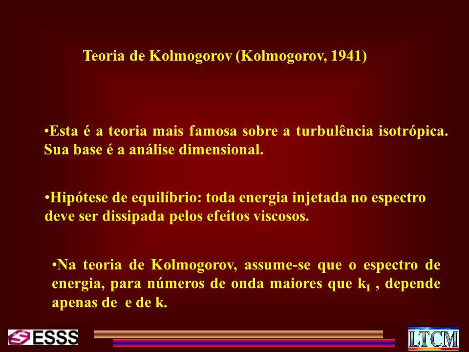 Teoria de Kolmogorov (Kolmogorov, 1941) Esta é a teoria mais famosa sobre a turbulência isotrópica. Sua base é a análise dimensional. Hipótese de equi