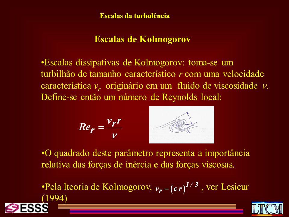 Escalas da turbulência Escalas dissipativas de Kolmogorov: toma-se um turbilhão de tamanho característico r com uma velocidade característica v r orig