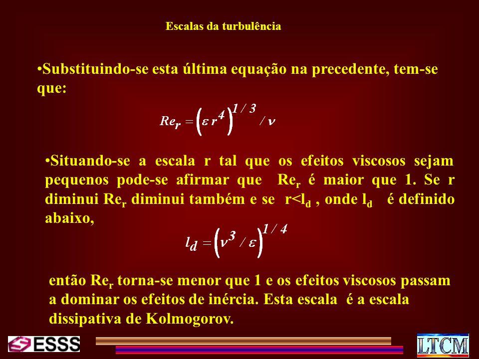 Escalas da turbulência Substituindo-se esta última equação na precedente, tem-se que: Situando-se a escala r tal que os efeitos viscosos sejam pequeno