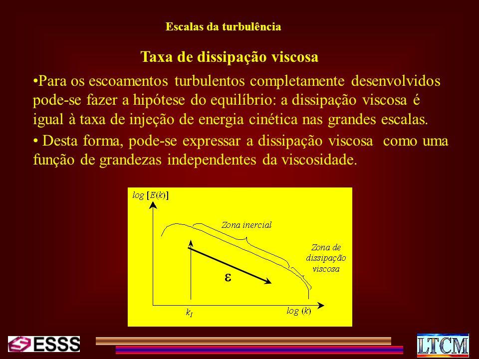 Escalas da turbulência Taxa de dissipação viscosa Para os escoamentos turbulentos completamente desenvolvidos pode-se fazer a hipótese do equilíbrio: