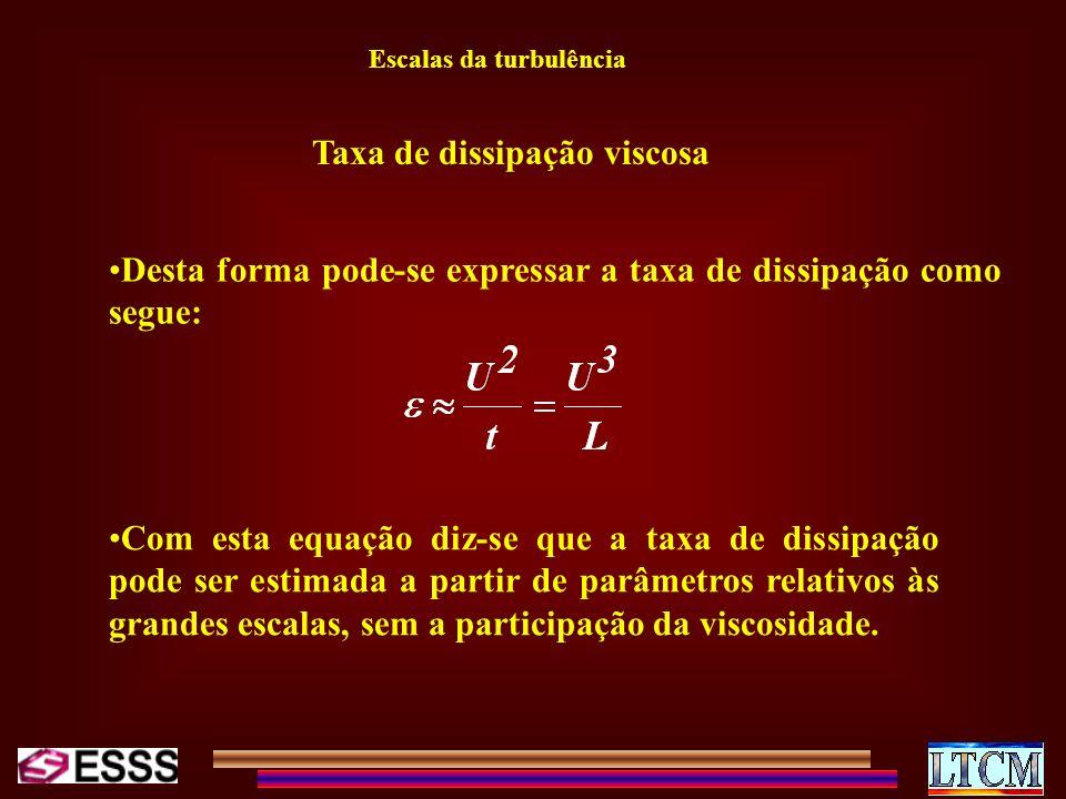 Escalas da turbulência Taxa de dissipação viscosa Desta forma pode-se expressar a taxa de dissipação como segue: Com esta equação diz-se que a taxa de