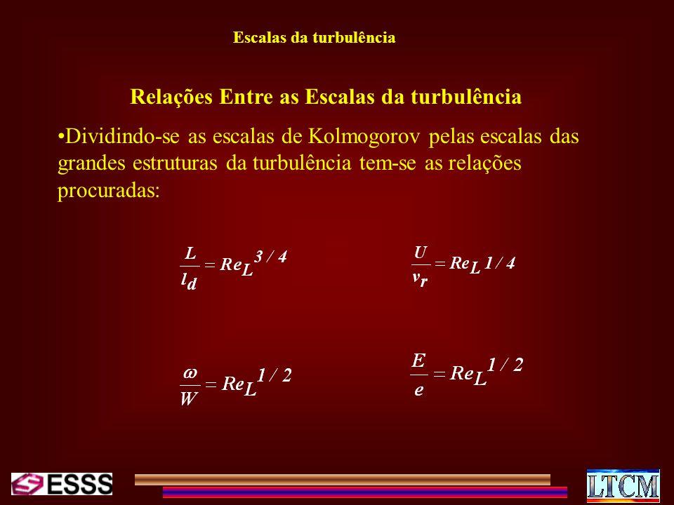 Escalas da turbulência Relações Entre as Escalas da turbulência Dividindo-se as escalas de Kolmogorov pelas escalas das grandes estruturas da turbulên
