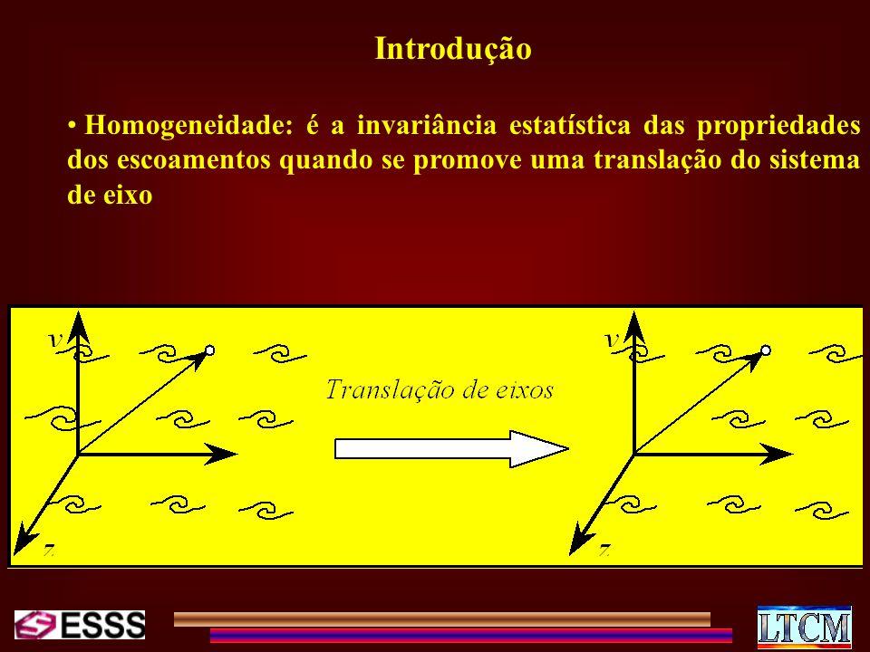 Introdução Homogeneidade: é a invariância estatística das propriedades dos escoamentos quando se promove uma translação do sistema de eixo