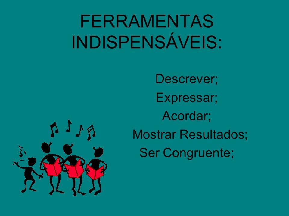 FERRAMENTAS INDISPENSÁVEIS: Descrever; Expressar; Acordar; Mostrar Resultados; Ser Congruente;