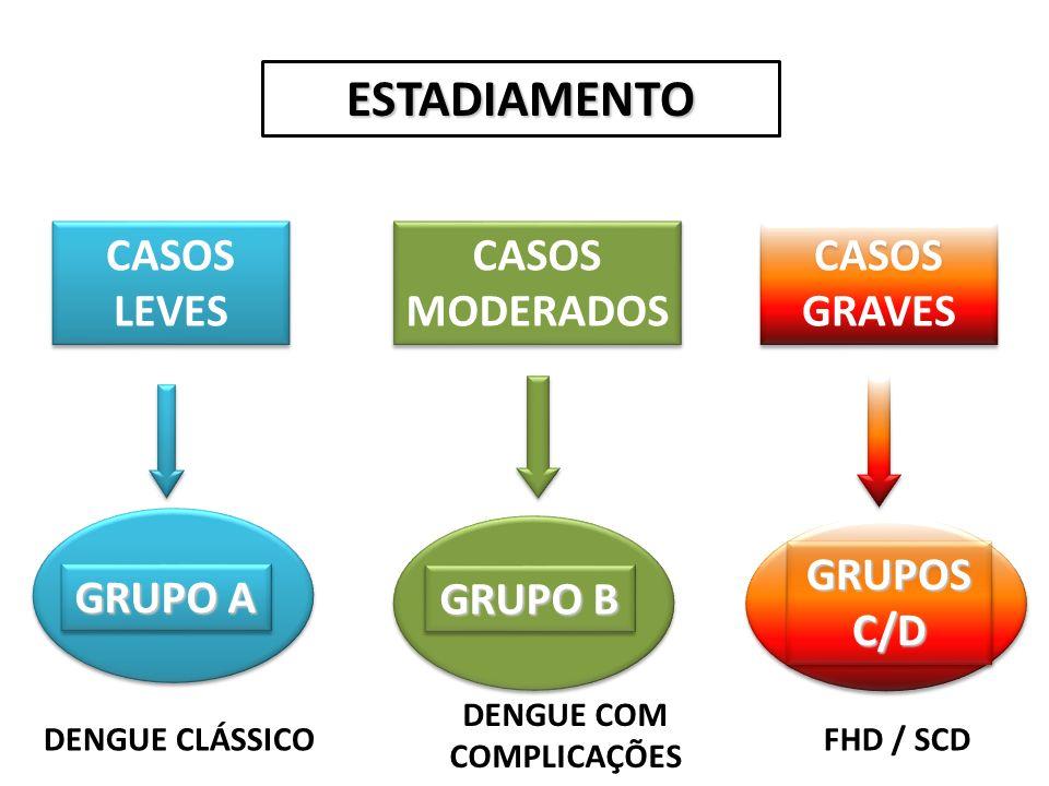 ESTADIAMENTO CASOS LEVES CASOS MODERADOS CASOS GRAVES GRUPO B GRUPOS C/D GRUPO A DENGUE CLÁSSICO DENGUE COM COMPLICAÇÕES FHD / SCD